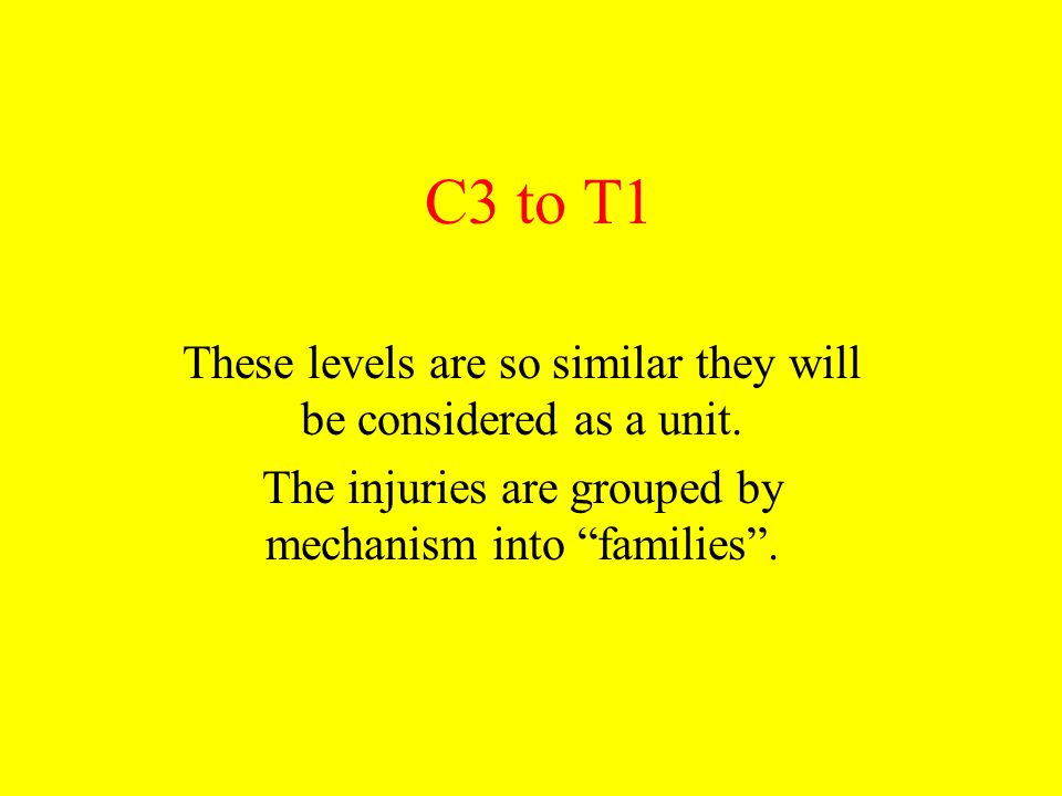 "C3 to T1 These levels are so similar they will be considered as a unit. The injuries are grouped by mechanism into ""families""."