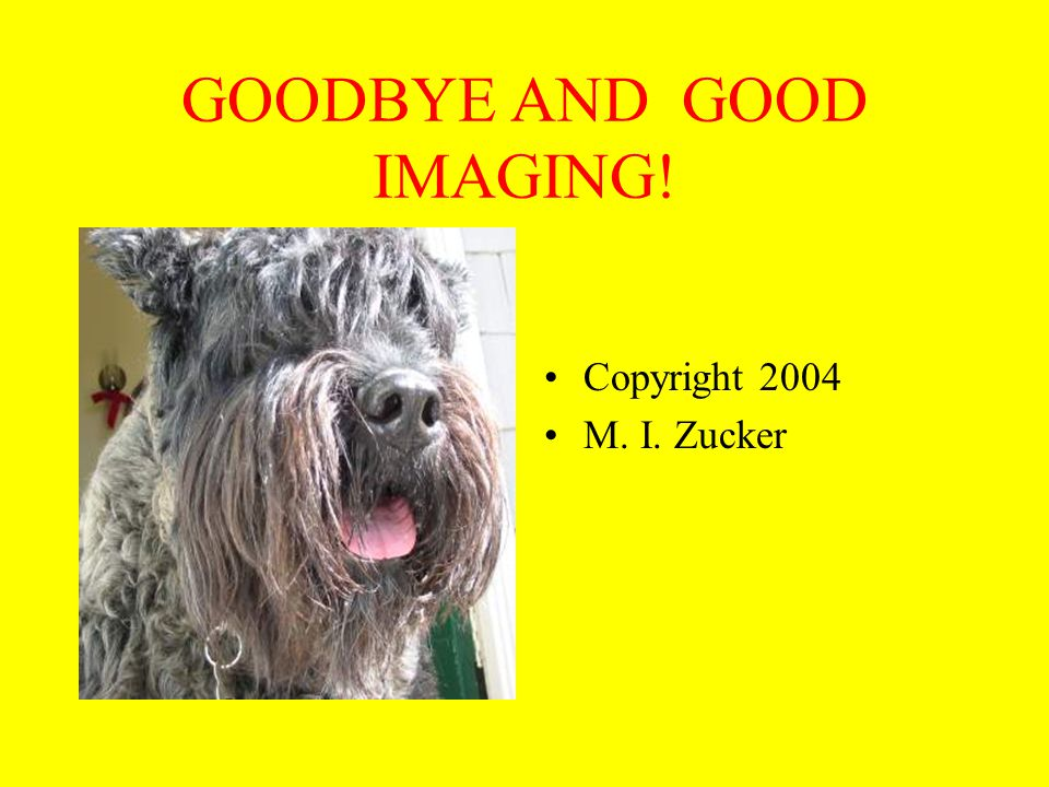 GOODBYE AND GOOD IMAGING! Copyright 2004 M. I. Zucker