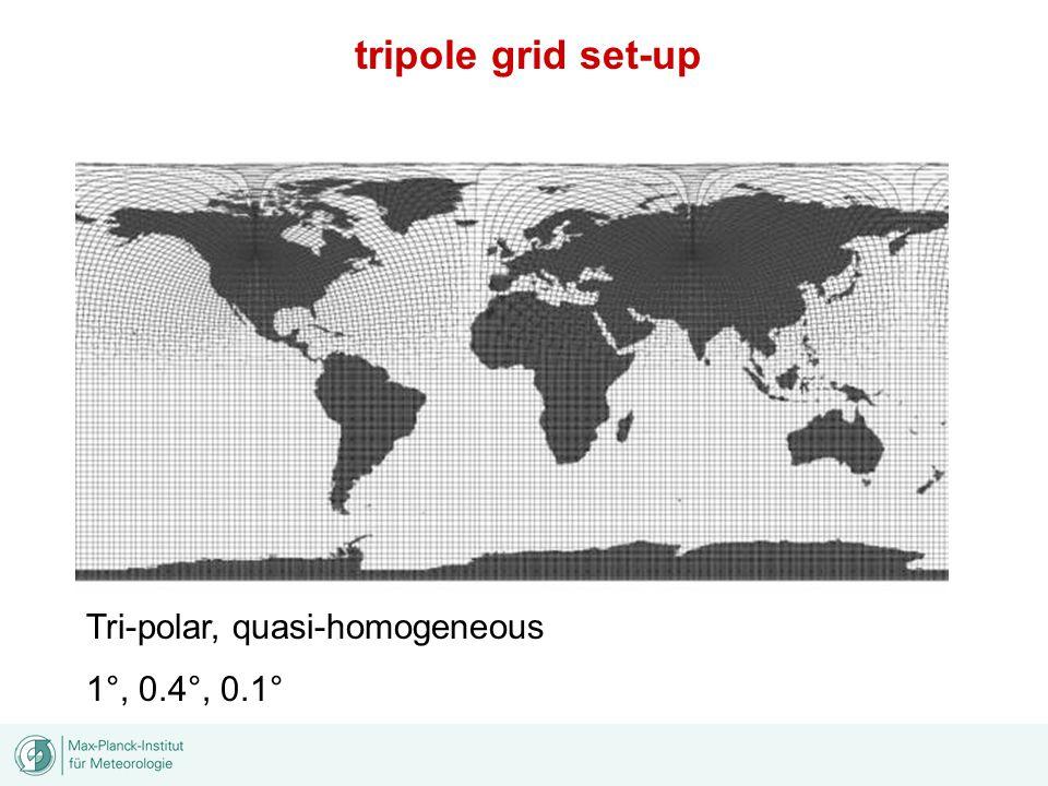 Tri-polar, quasi-homogeneous 1°, 0.4°, 0.1° tripole grid set-up