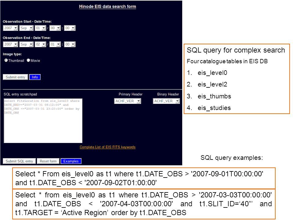 """Select * from eis_level0 as t1 where t1.DATE_OBS > '2007-03-03T00:00:00' and t1.DATE_OBS < '2007-04-03T00:00:00' and t1.SLIT_ID='40""""' and t1.TARGET ="""