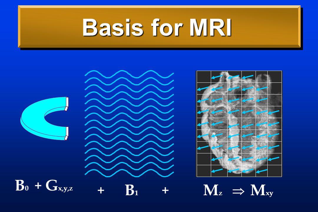 Basis for MRI B0B0 B1B1 MzMz M xy ++  G x,y,z +