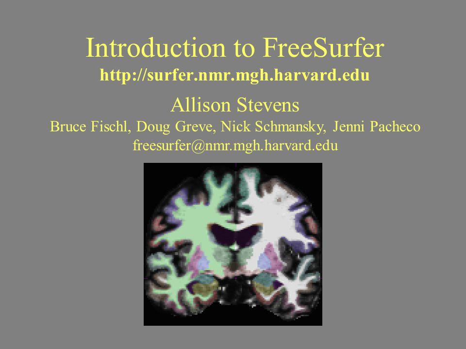 Introduction to FreeSurfer http://surfer.nmr.mgh.harvard.edu Allison Stevens Bruce Fischl, Doug Greve, Nick Schmansky, Jenni Pacheco freesurfer@nmr.mg