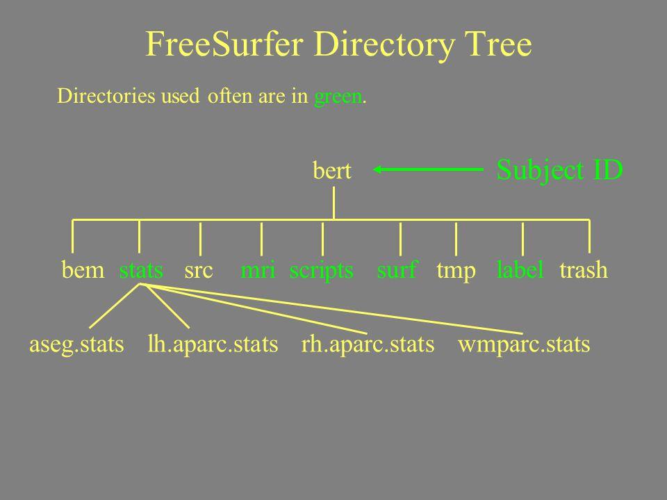 FreeSurfer Directory Tree Subject ID Directories used often are in green. bert bem stats src mri scripts surf tmp label trash aseg.stats lh.aparc.stat