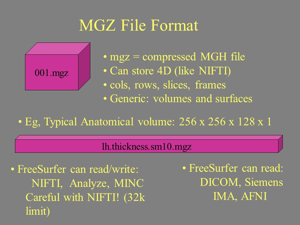 MGZ File Format 001.mgz mgz = compressed MGH file Can store 4D (like NIFTI) cols, rows, slices, frames Generic: volumes and surfaces Eg, Typical Anato