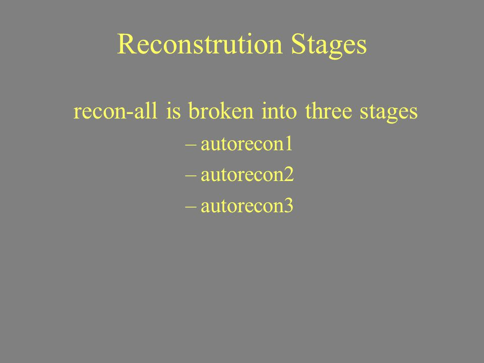 Reconstrution Stages recon-all is broken into three stages –autorecon1 –autorecon2 –autorecon3