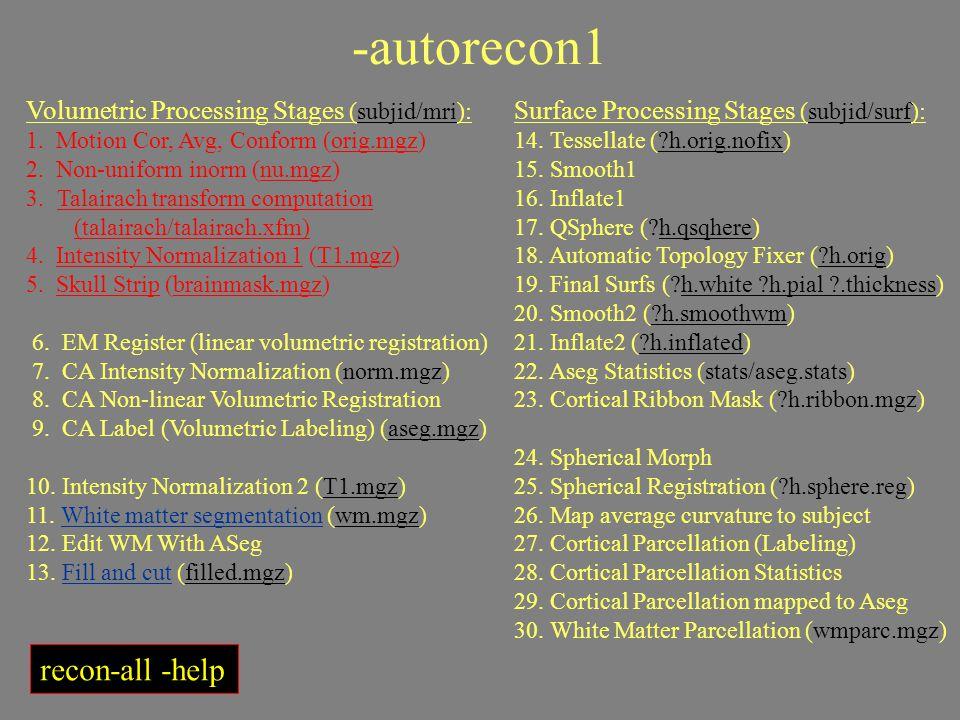 -autorecon1 Volumetric Processing Stages (subjid/mri): 1. Motion Cor, Avg, Conform (orig.mgz) 2. Non-uniform inorm (nu.mgz) 3. Talairach transform com