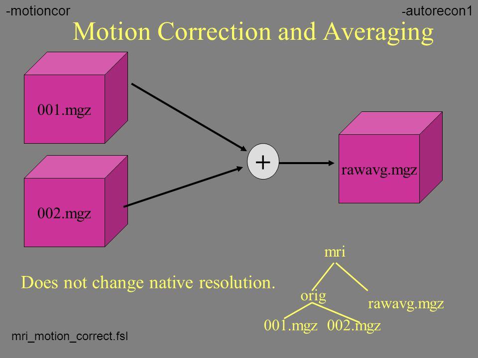 Motion Correction and Averaging 001.mgz 002.mgz + rawavg.mgz orig 001.mgz 002.mgz mri rawavg.mgz Does not change native resolution. - autorecon1-motio