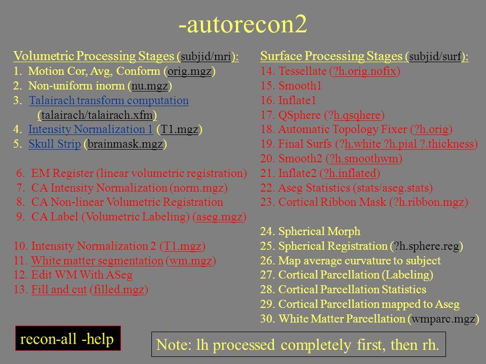 -autorecon2 Volumetric Processing Stages (subjid/mri): 1. Motion Cor, Avg, Conform (orig.mgz) 2. Non-uniform inorm (nu.mgz) 3. Talairach transform com