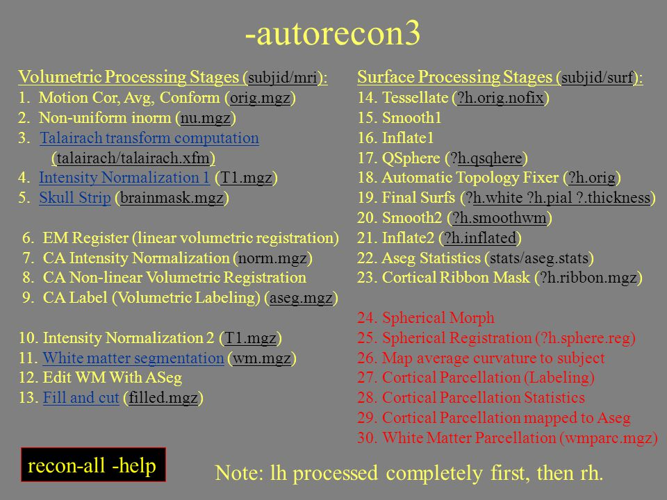 -autorecon3 Volumetric Processing Stages (subjid/mri): 1. Motion Cor, Avg, Conform (orig.mgz) 2. Non-uniform inorm (nu.mgz) 3. Talairach transform com