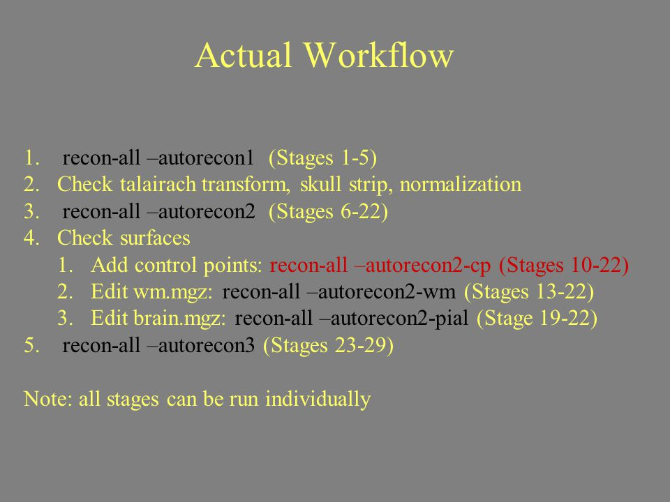 Actual Workflow 1. recon-all –autorecon1 (Stages 1-5) 2.Check talairach transform, skull strip, normalization 3. recon-all –autorecon2 (Stages 6-22) 4