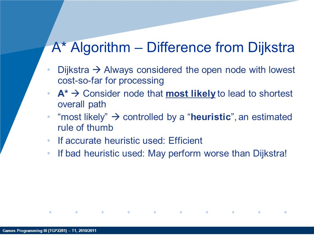 Games Programming III (TGP2281) – T1, 2010/2011 A* Algorithm – Difference from Dijkstra Dijkstra  Always considered the open node with lowest cost-so