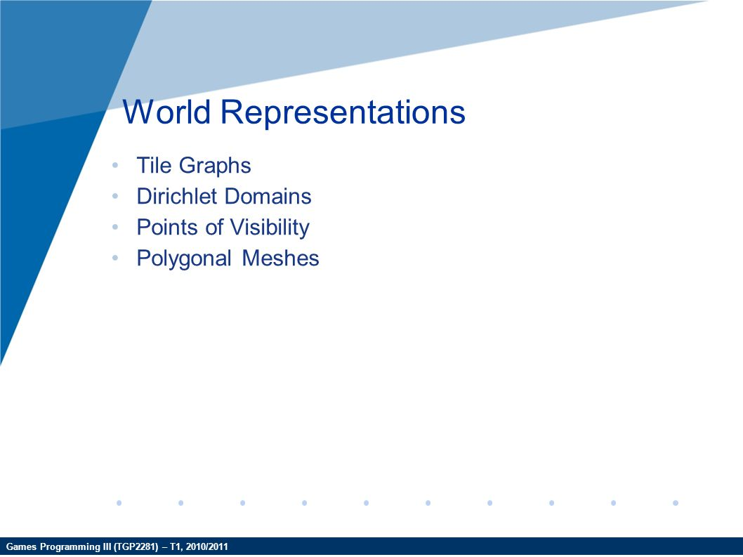 Games Programming III (TGP2281) – T1, 2010/2011 World Representations Tile Graphs Dirichlet Domains Points of Visibility Polygonal Meshes