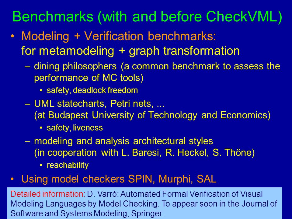 Budapest University of Technology and EconomicsDagstuhl 2004 Department of Measurement and Information Systems 36 Benchmarks (with and before CheckVML