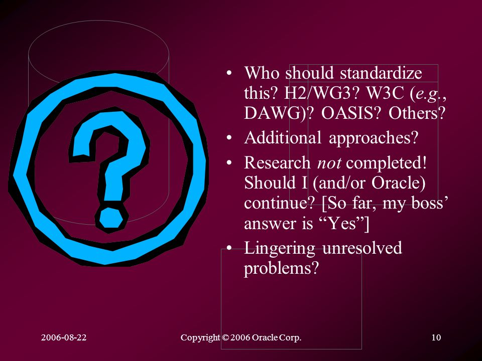 2006-08-22Copyright © 2006 Oracle Corp.10 Who should standardize this.