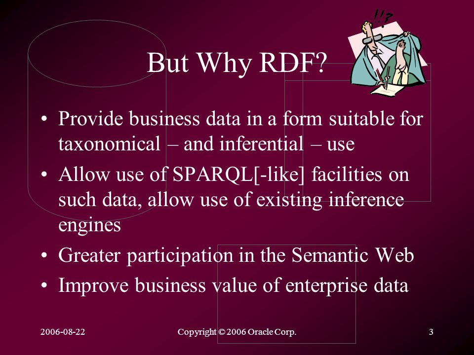 2006-08-22Copyright © 2006 Oracle Corp.3 But Why RDF.