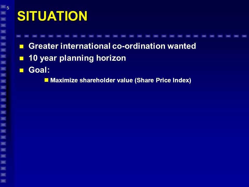 5 SITUATION n Greater international co-ordination wanted n 10 year planning horizon n Goal: Maximize shareholder value (Share Price Index)