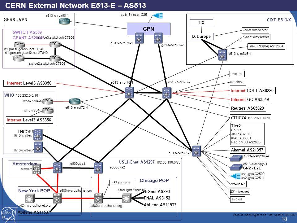 18 GPN g513-e-rci76-1 IX Europe edoardo.martelli@cern.ch - last update: 20070801 e513-x-mfte6-1 e513-e-rci65-3 e513-e-rci76-2 SWITCH AS559 GEANT AS20965 Chicago POP CIXP E513-X StarLight Force10 swice2.switch.ch C7606 I-root dns server Akamai AS21357 as1-gva C2509 as2-gva C2511 swice3.switch.ch C7606 LHCOPN CITIC74 195.202.0.0/20 who-7204-a who-7204-b FNAL AS3152 ESnet AS293 Abilene AS11537 RIPE RIS(04) AS12654 K-root dns server e600chi.uslhcnet.org WHO 158.232.0.0/16 Reuters AS65020 e513-e-rci76-1 e600nyc.uslhcnet.org New York POP USLHCnet AS1297 192.65.196.0/23 e600gva1 e600gva2 l513-c-rftec-2 x424nyc.uslhcnet.org Internet GC AS3549 rt1.gen.ch.geant2.net JT640 as1(-5)-csen C2511 e513-e-shp3m-4 e513-e-rci72-4 tt87.ripe.net Internet Level3 AS3356 l513-c-rftec-1 rt1.par.fr.geant2.net JT640 evo-us Abilene AS11537 TIX Tier2 UniGe JINR AS2875 KIAE AS6801 RadioMSU AS2683 tt31.ripe.net ext-dns-2 ext-dns-1 g513-e-rci76-2 evo-eu e513-e-mhpyl-1 GN2 - E2E Internet COLT AS8220 CERN External Network E513-E – AS513 Amsterdam Internet Level3 AS3356 e600ams r513-c-rca80-1 GPRS - VPN