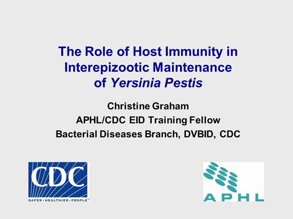 The Role of Host Immunity in Interepizootic Maintenance of Yersinia Pestis Christine Graham APHL/CDC EID Training Fellow Bacterial Diseases Branch, DVBID, CDC