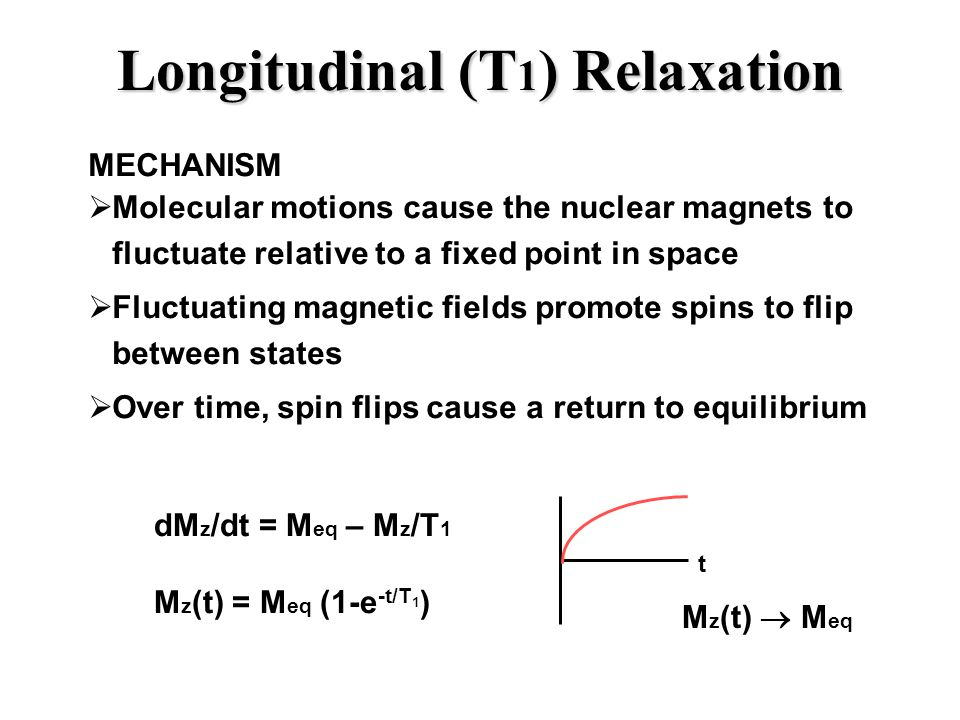 Longitudinal (T 1 ) Relaxation MECHANISM  Molecular motions cause the nuclear magnets to fluctuate relative to a fixed point in space  Fluctuating magnetic fields promote spins to flip between states  Over time, spin flips cause a return to equilibrium t dM z /dt = M eq – M z /T 1 M z (t) = M eq (1-e -t/T 1 ) M z (t)  M eq