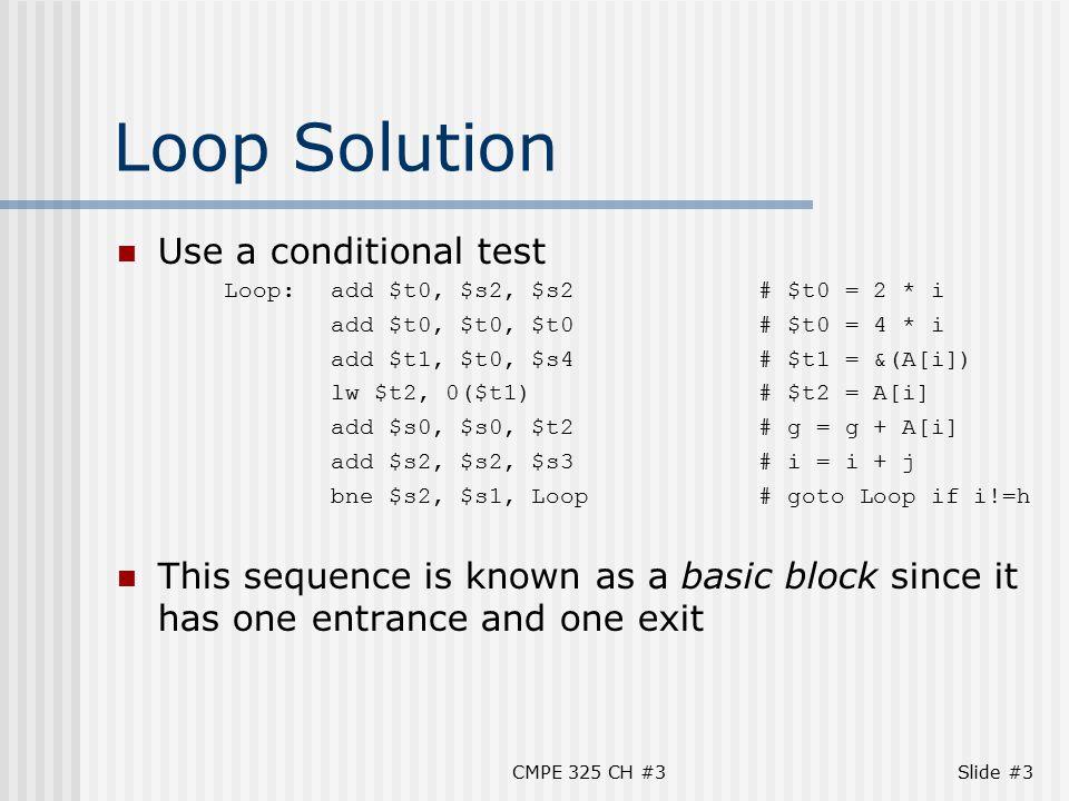 CMPE 325 CH #3Slide #24 Procedure Coding Example The C code for swap procedure is: swap(int v[ ], int k) { int temp; temp = v[k]; v[k] = v[k+1]; v[k+1] = temp; } Code it in MIPS Assembly.
