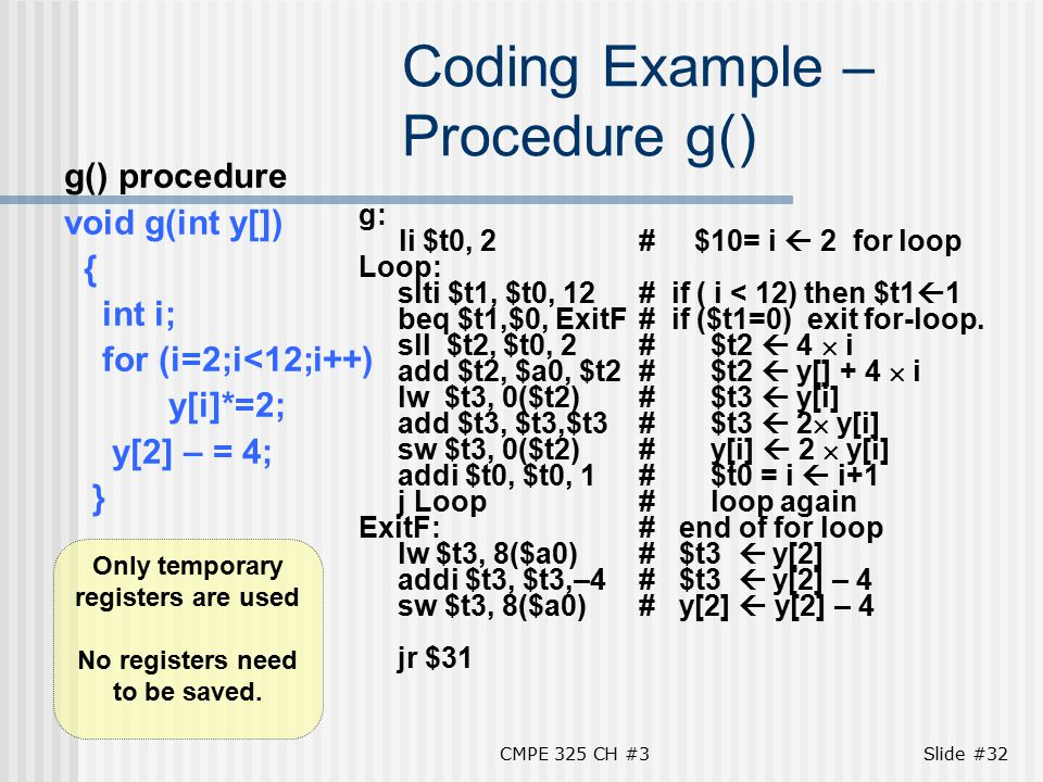 CMPE 325 CH #3Slide #32 Coding Example – Procedure g() g() procedure void g(int y[]) { int i; for (i=2;i<12;i++) y[i]*=2; y[2] – = 4; } g: li $t0, 2# $10= i  2 for loop Loop: slti $t1, $t0, 12# if ( i < 12) then $t1  1 beq $t1,$0, ExitF# if ($t1=0) exit for-loop.