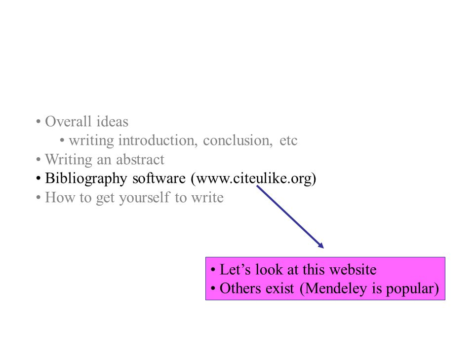 Overall ideas writing introduction, conclusion, etc Writing an abstract Bibliography software (www.citeulike.org) How to get yourself to write Let's l