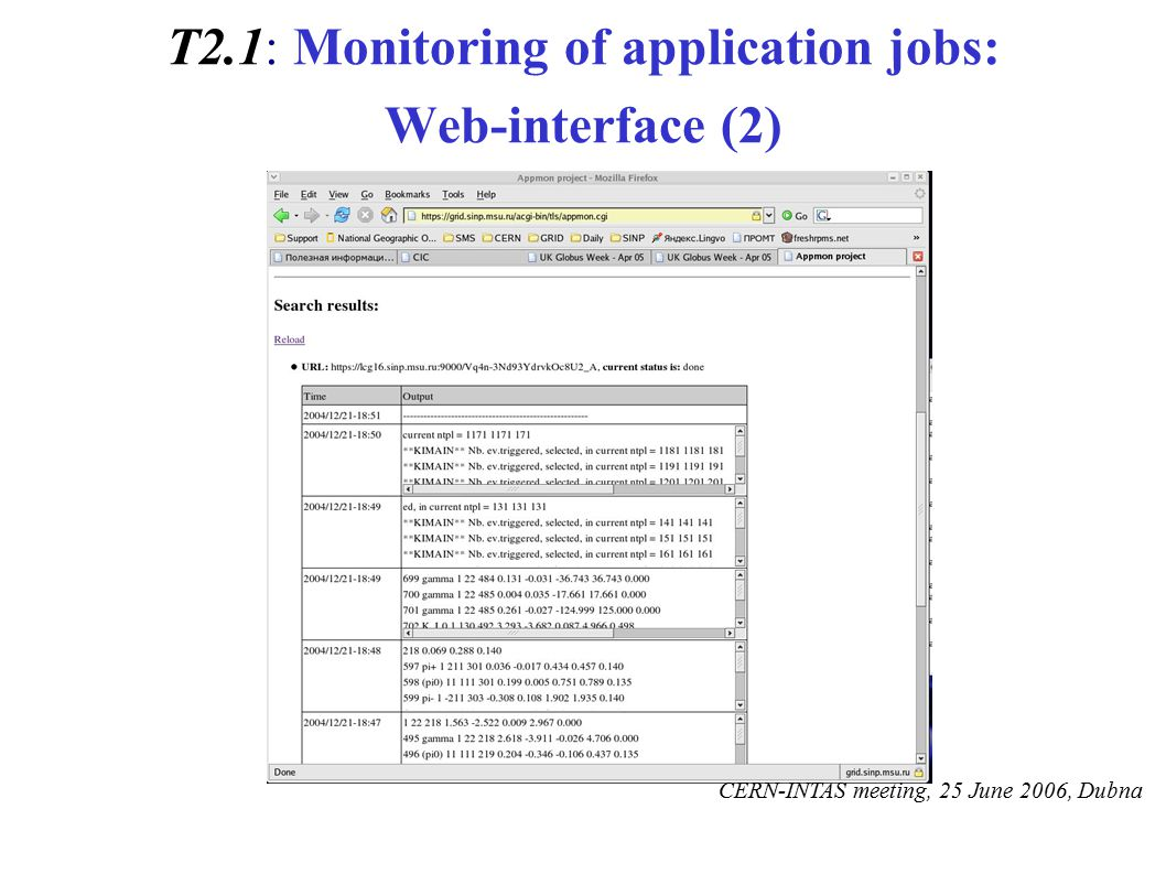 T2.1: Monitoring of application jobs: Web-interface (2) CERN-INTAS meeting, 25 June 2006, Dubna