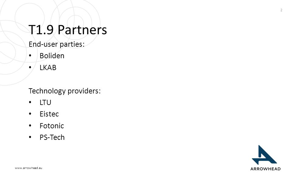 www.arrowhead.eu T1.9 Partners End-user parties: Boliden LKAB Technology providers: LTU Eistec Fotonic PS-Tech 2