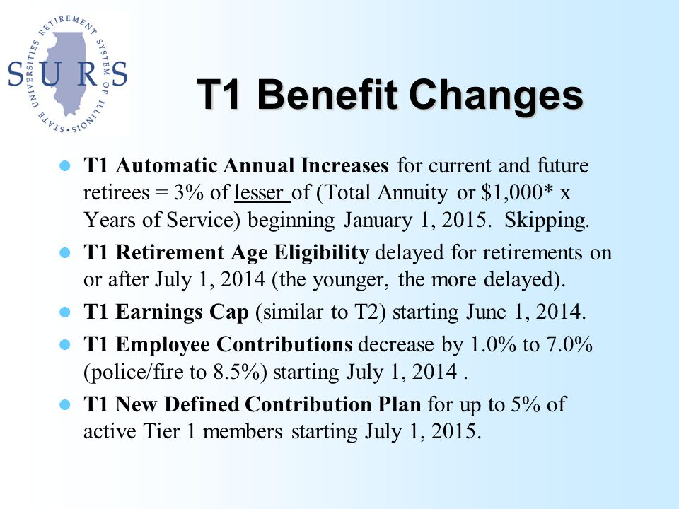 T1 Benefit Changes T1 Automatic Annual Increases for current and future retirees = 3% of lesser of (Total Annuity or $1,000* x Years of Service) beginning January 1, 2015.