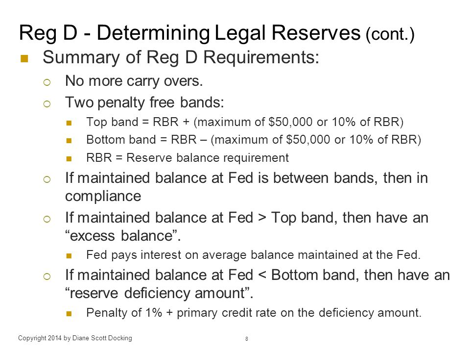 Legal Reserve Requirements Sec.204.4 Reserve requirement ratios.