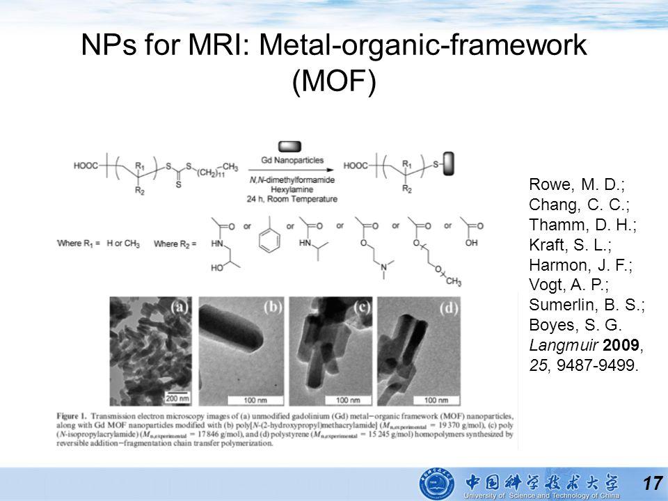 17 NPs for MRI: Metal-organic-framework (MOF) Rowe, M.