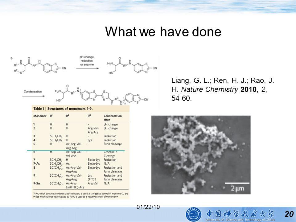 20 01/22/10 What we have done Liang, G. L.; Ren, H. J.; Rao, J. H. Nature Chemistry 2010, 2, 54-60.