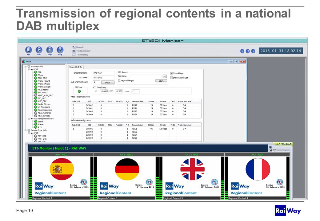 Page 10 BOZZA PER DISCUSSIONE Transmission of regional contents in a national DAB multiplex