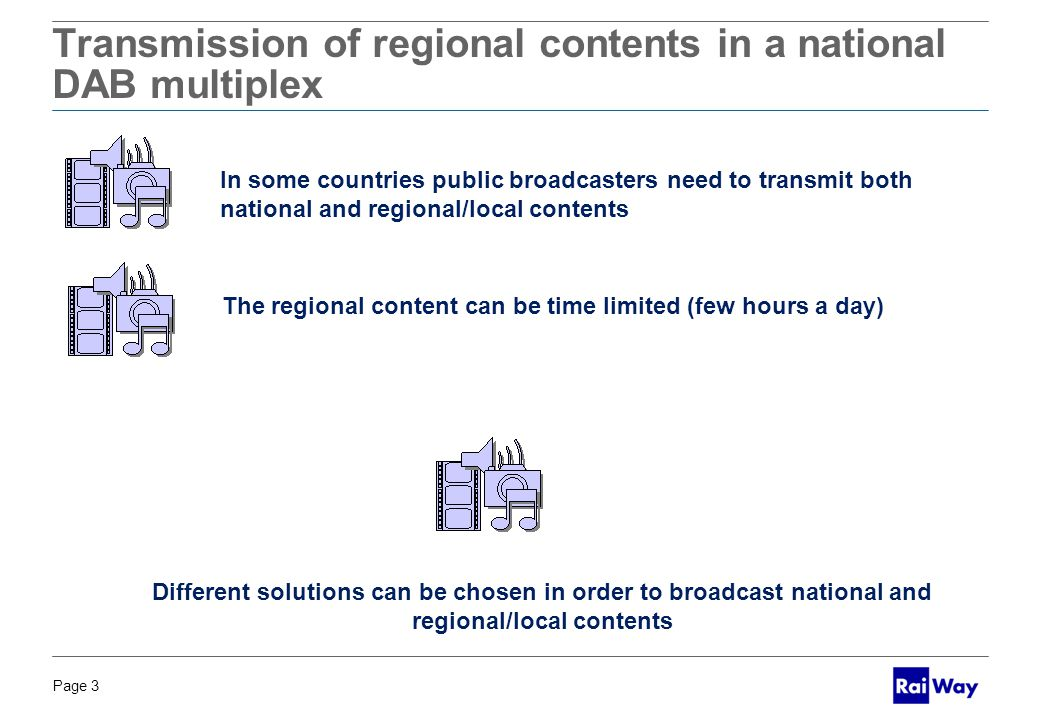 Page 3 BOZZA PER DISCUSSIONE Transmission of regional contents in a national DAB multiplex In some countries public broadcasters need to transmit both national and regional/local contents The regional content can be time limited (few hours a day) Different solutions can be chosen in order to broadcast national and regional/local contents