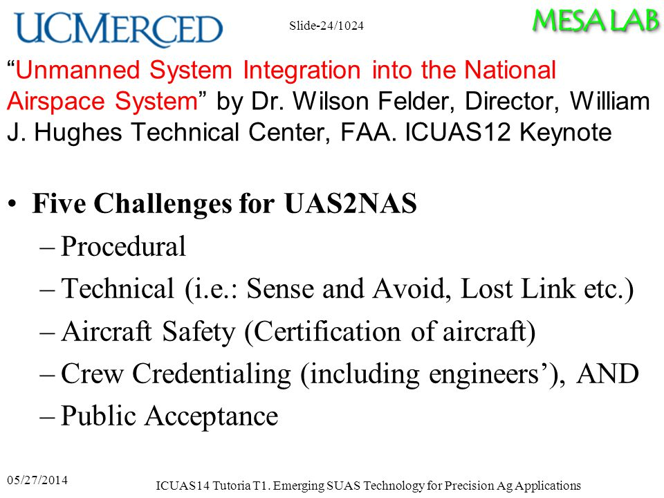 MESA LAB Unmanned System Integration into the National Airspace System by Dr.