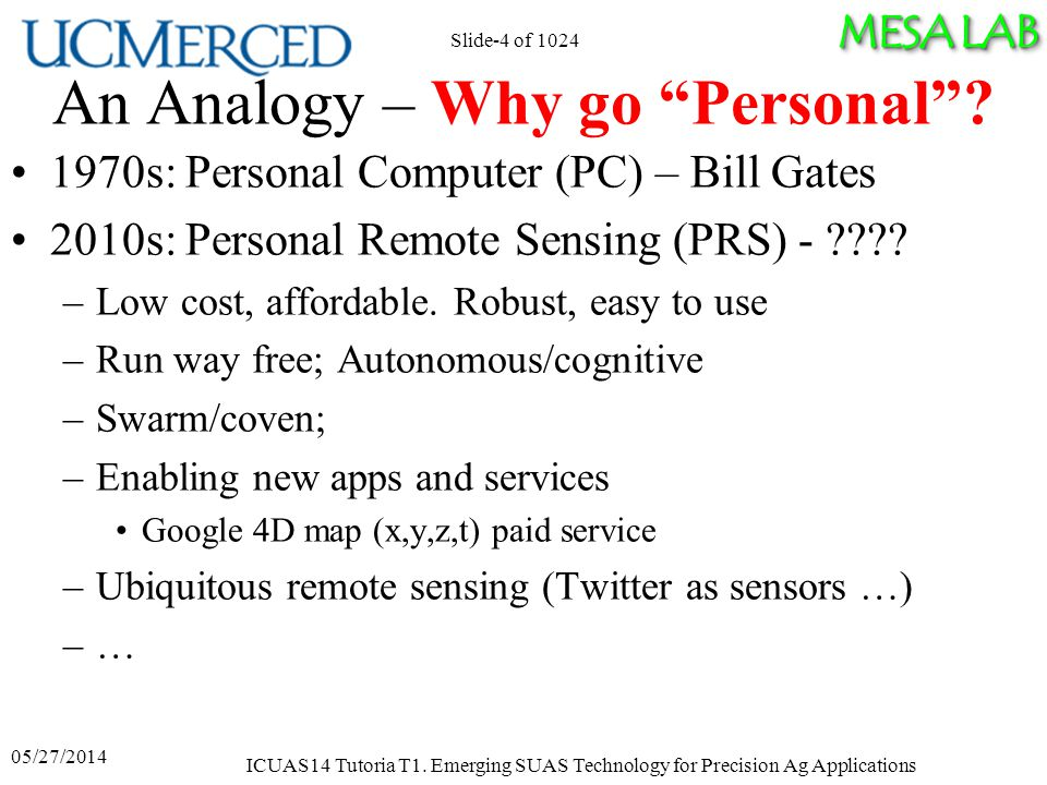 MESA LAB An Analogy – Why go Personal .