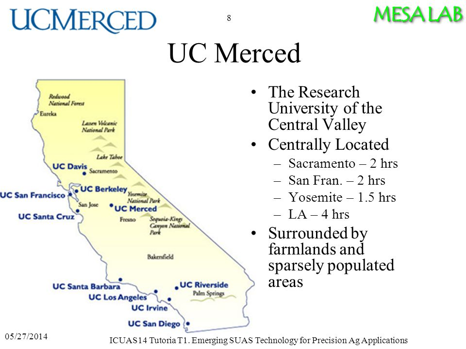 MESA LAB UC Merced The Research University of the Central Valley Centrally Located –Sacramento – 2 hrs –San Fran.