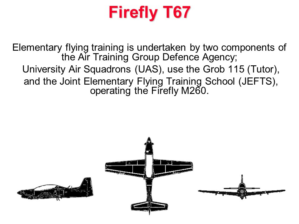 Elementary flying training is undertaken by two components of the Air Training Group Defence Agency; University Air Squadrons (UAS), use the Grob 115