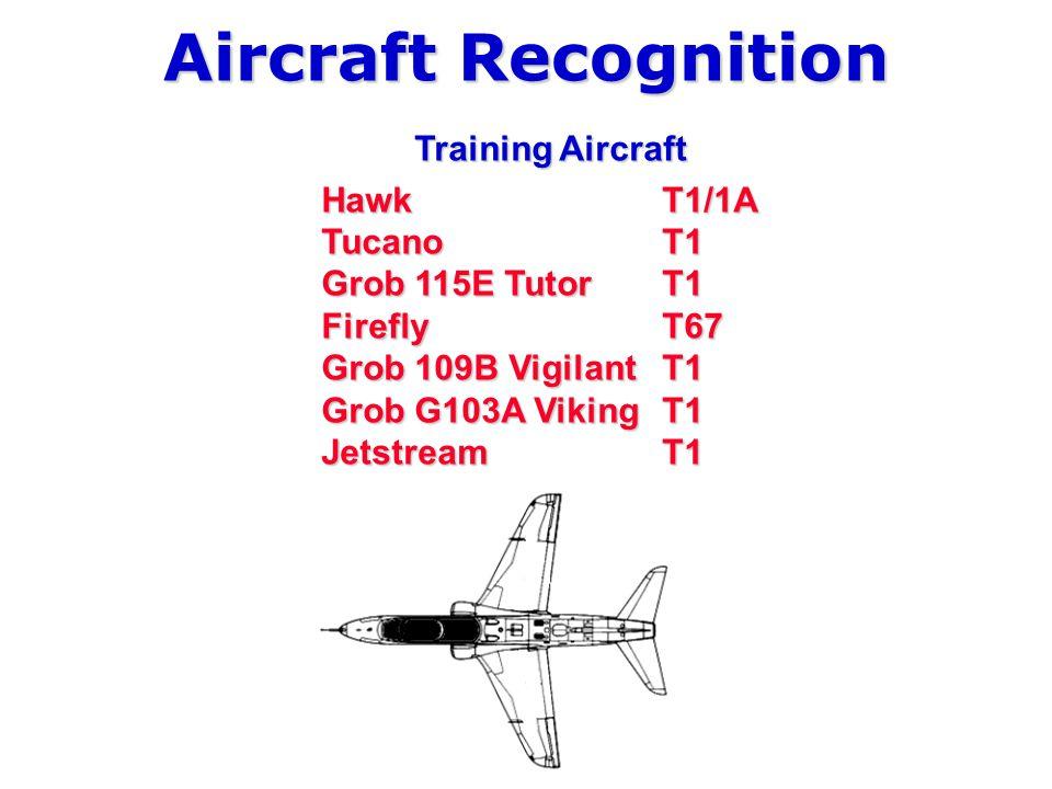 Aircraft Recognition Training Aircraft Hawk T1/1A Tucano T1 Grob 115E TutorT1 Firefly T67 Grob 109B Vigilant T1 Grob G103A Viking T1 JetstreamT1
