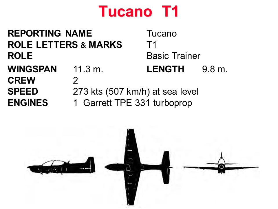 REPORTING NAMETucano ROLE LETTERS & MARKST1 ROLEBasic Trainer WINGSPAN 11.3 m.LENGTH 9.8 m. CREW 2 SPEED273 kts (507 km/h) at sea level ENGINES 1 Garr