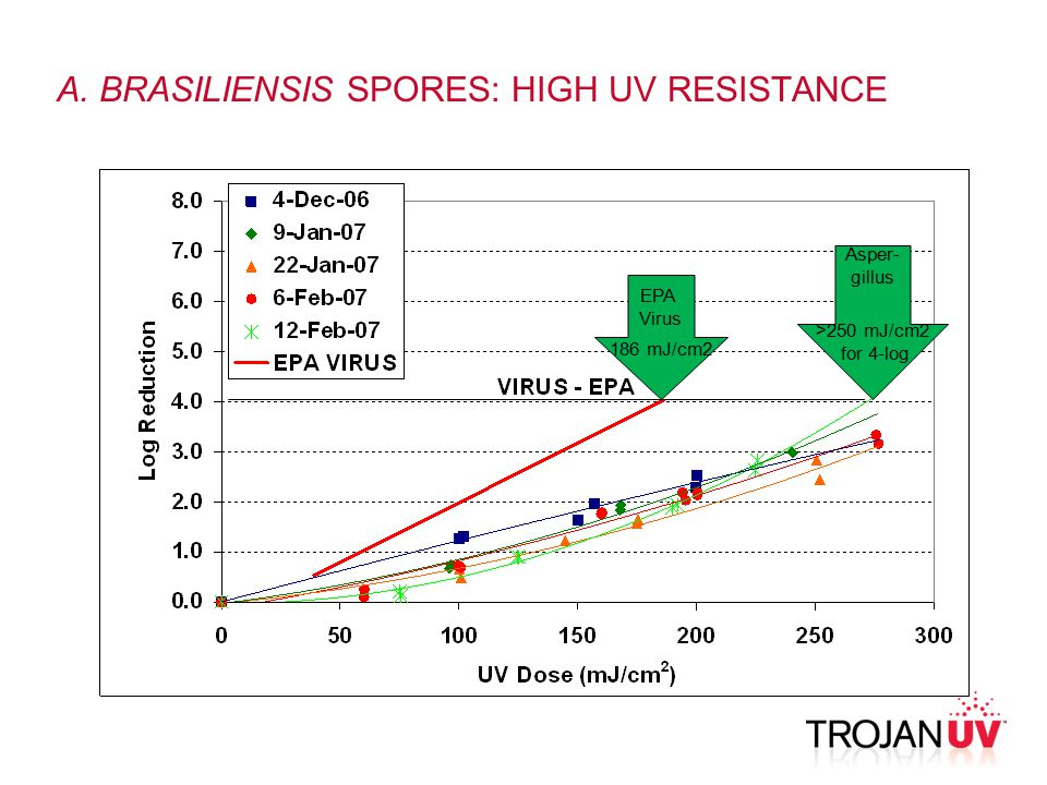 A. BRASILIENSIS SPORES: HIGH UV RESISTANCE Asper- gillus >250 mJ/cm2 for 4-log EPA Virus 186 mJ/cm2