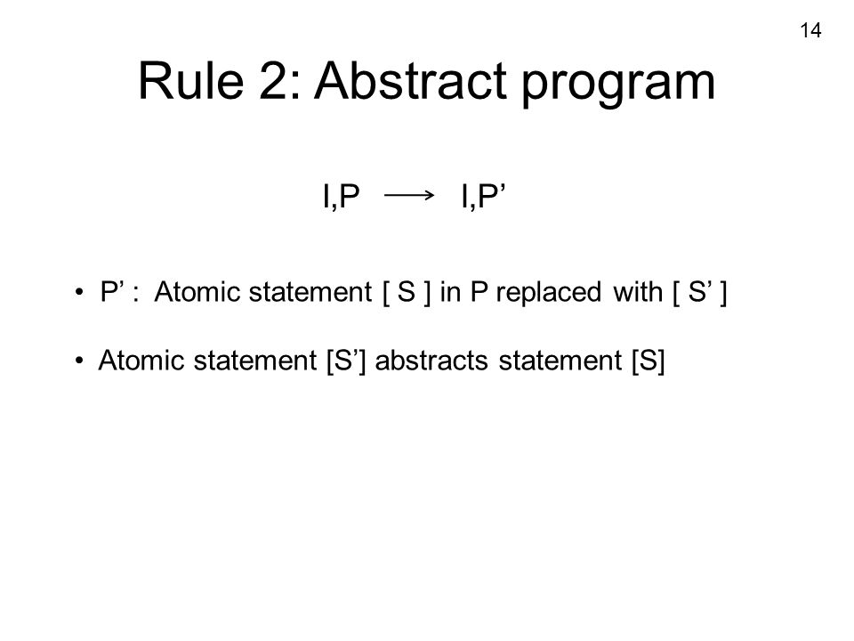 Rule 2: Abstract program I,PI,P' P' : Atomic statement [ S ] in P replaced with [ S' ] Atomic statement [S'] abstracts statement [S] 14