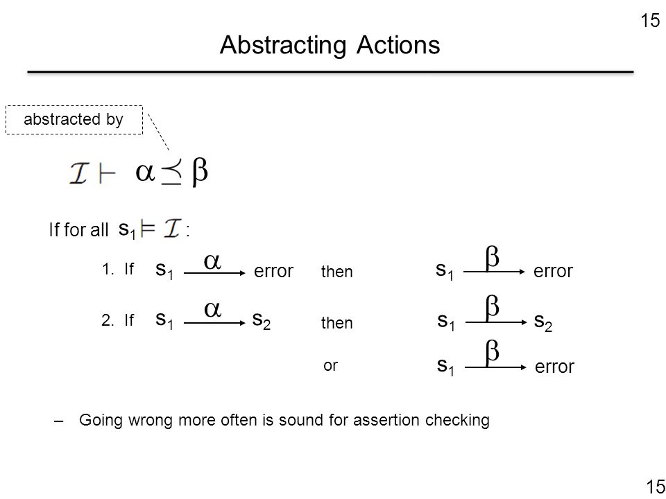 15 Abstracting Actions  If for all : error s1s1 s1s1 1. If then s1s1 2. If then s2s2 s1s1 s2s2 or error s1s1 s1s1      –Going wrong more often