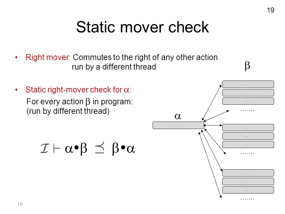 19 Static mover check Right mover: Commutes to the right of any other action run by a different thread Static right-mover check for  :...... For ever