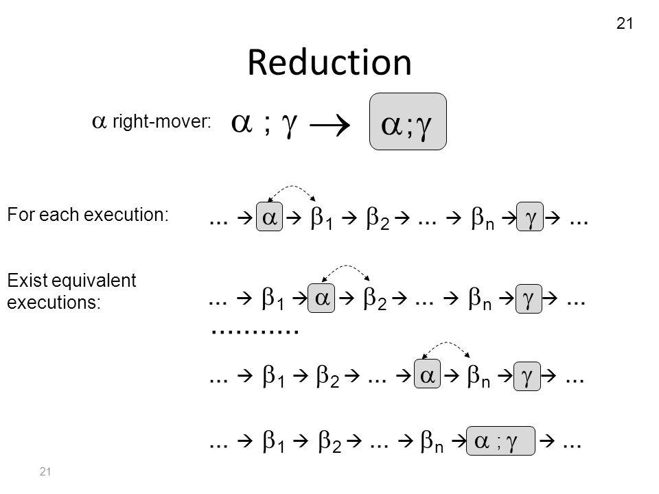 21 Reduction  ;  ;  ...   1   2 ...   n   ;  ...