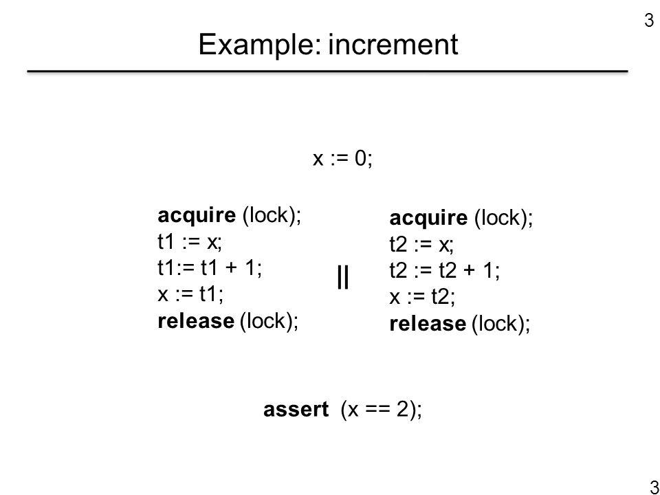 3 Example: increment acquire (lock); t1 := x; t1:= t1 + 1; x := t1; release (lock); x := 0; || assert (x == 2); acquire (lock); t2 := x; t2 := t2 + 1; x := t2; release (lock); 3