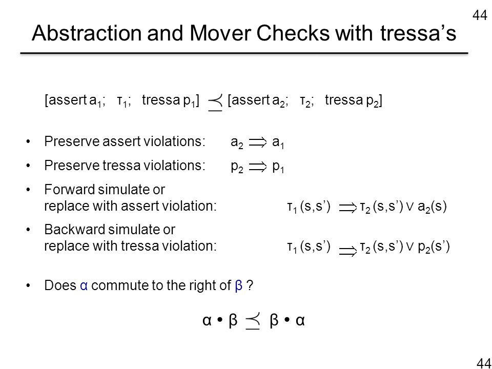 Abstraction and Mover Checks with tressa's [assert a 1 ; τ 1 ; tressa p 1 ] [assert a 2 ; τ 2 ; tressa p 2 ] Preserve assert violations: a 2 a 1 Prese