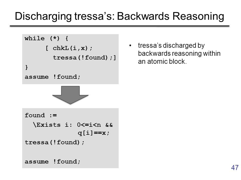 Discharging tressa's: Backwards Reasoning 47 while (*) { [ chkL(i,x); tressa(!found);] } assume !found; found := \Exists i: 0<=i<n && q[i]==x; tressa(!found); assume !found; tressa's discharged by backwards reasoning within an atomic block.