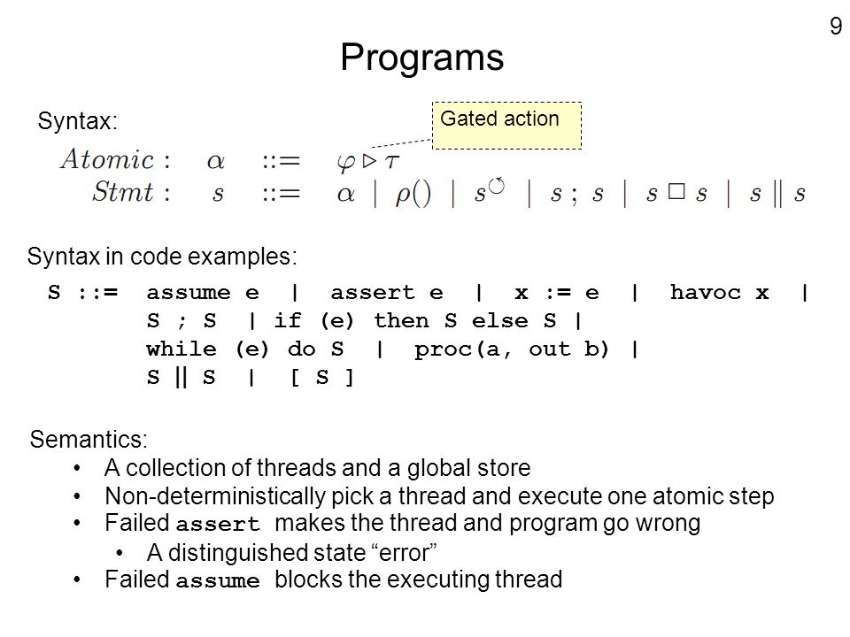 Programs Syntax: Gated action 9 S ::= assume e | assert e | x := e | havoc x | S ; S | if (e) then S else S | while (e) do S | proc(a, out b) | S || S