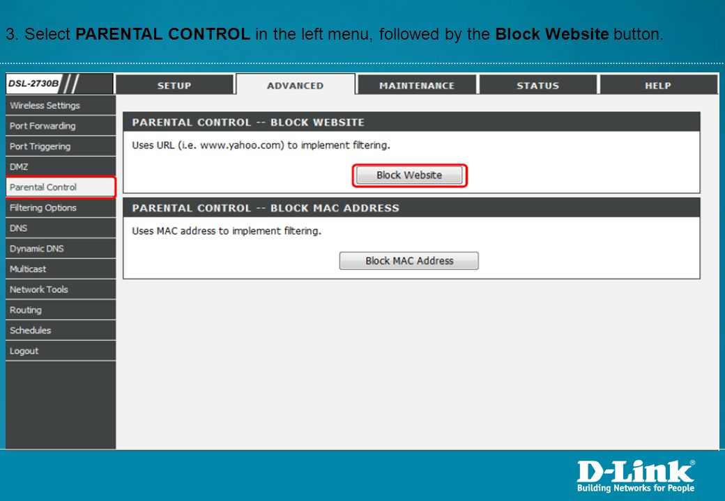 3. Select PARENTAL CONTROL in the left menu, followed by the Block Website button.